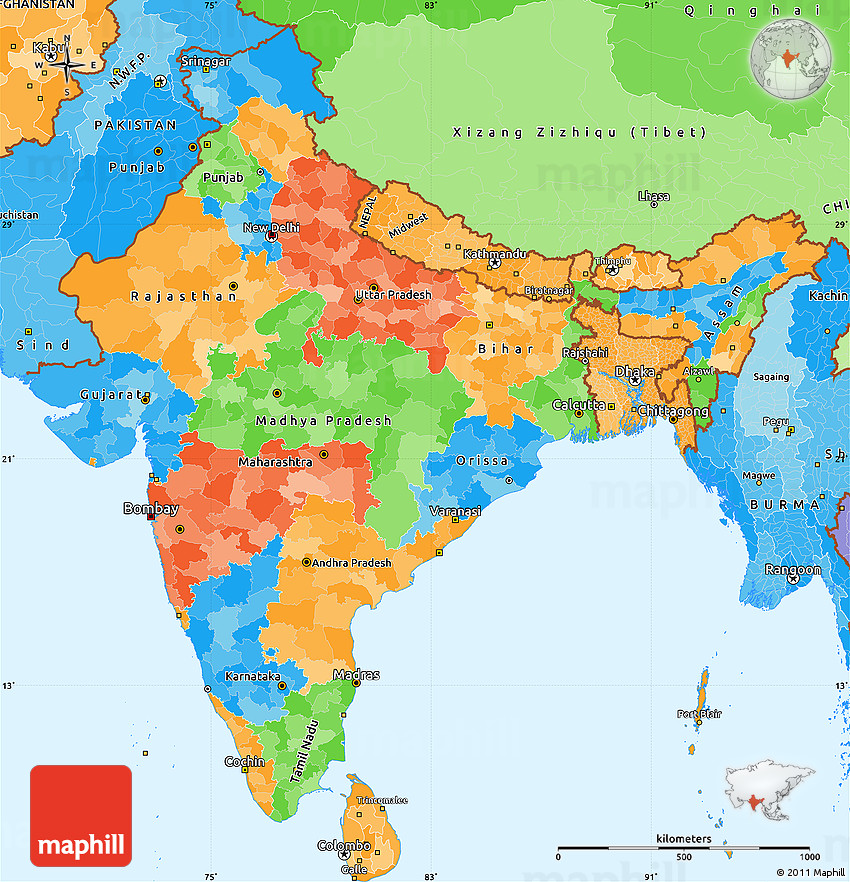 Political Simple Map Of India Political Shades Outside