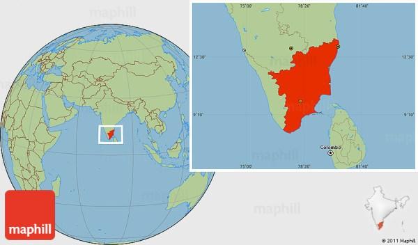 Savanna Style Location Map of Tamil Nadu