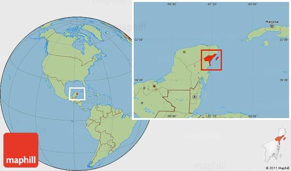Savanna Style Location Map of Cozumel