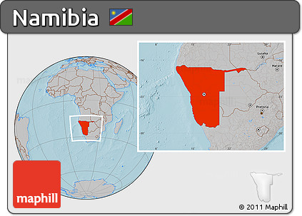 Gray Location Map of Namibia, hill shading