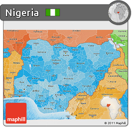 Political Shades 3D Map of Nigeria