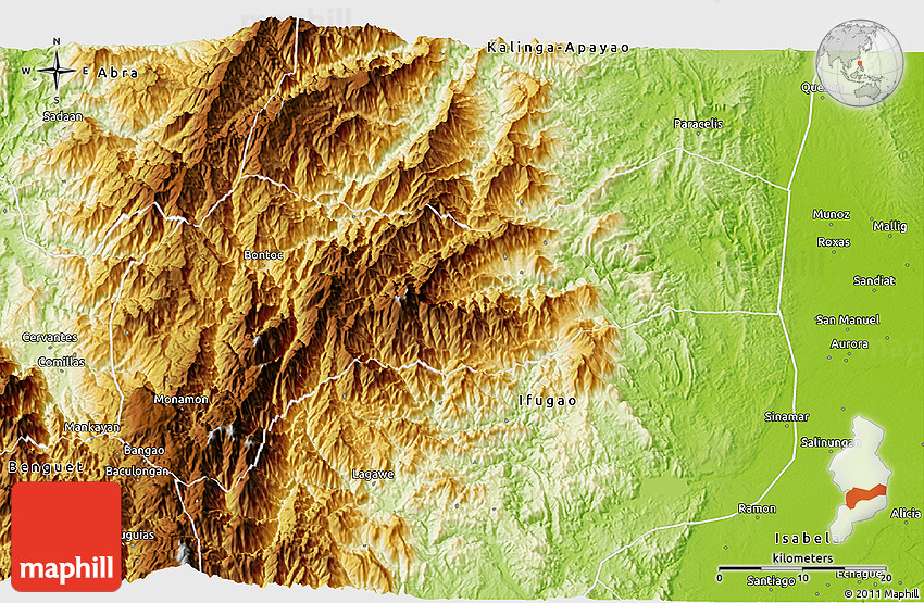 Physical 3d Map Of Mountain
