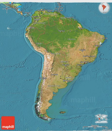 Satellite 3D Map of South America  political outside  satellite sea westnortheast  south