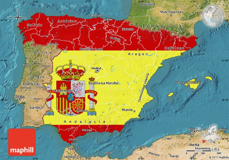 Flag Map of Spain  satellite outside 2D