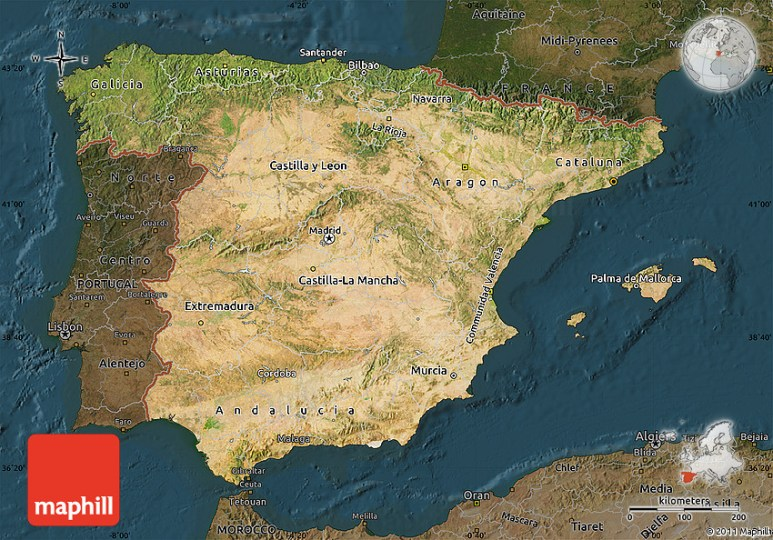 Satellite Map of Spain  darken 2D
