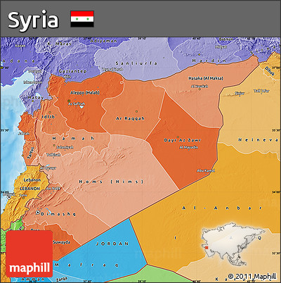 Political Shades Map of Syria