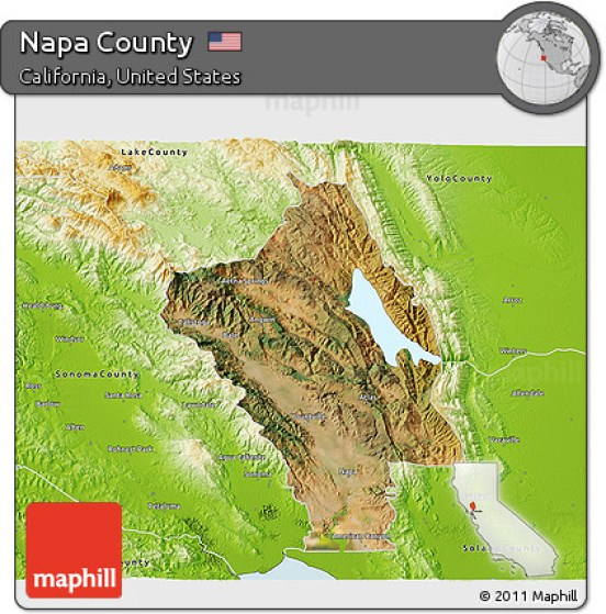 Satellite 3D Map of Napa County, physical outside