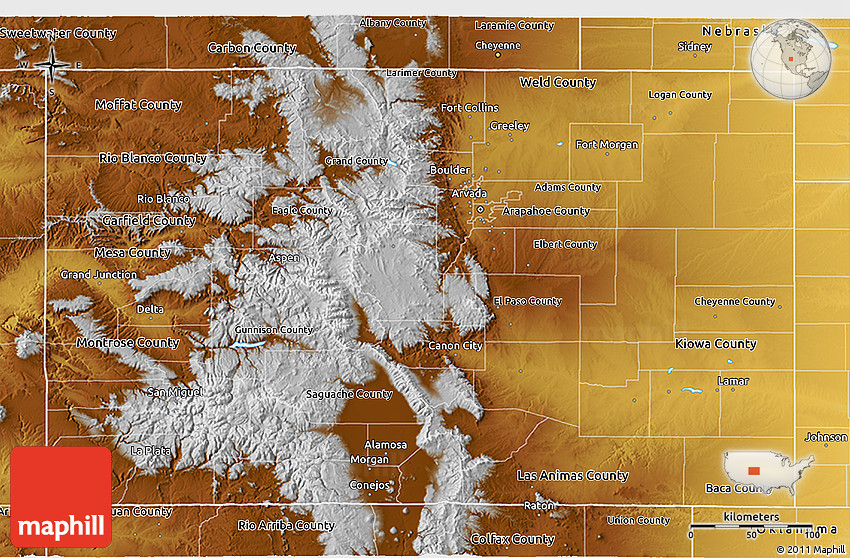 Physical 3D Map of Colorado 2D
