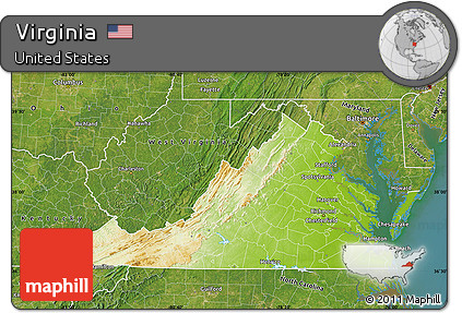 Free Physical Map of Virginia  satellite outside     satellite outside Physical Map of Virginia  satellite outside
