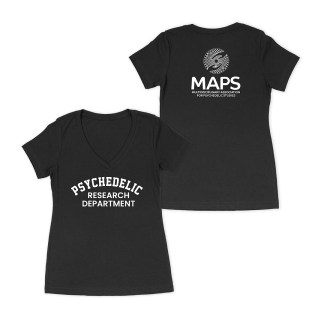 Psychedelic Research Department Womens VNeck Black Shirt