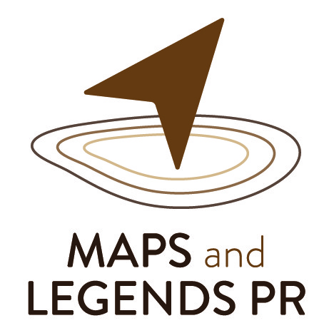 A compass on map contours. This is the logo for Maps and Legends PR