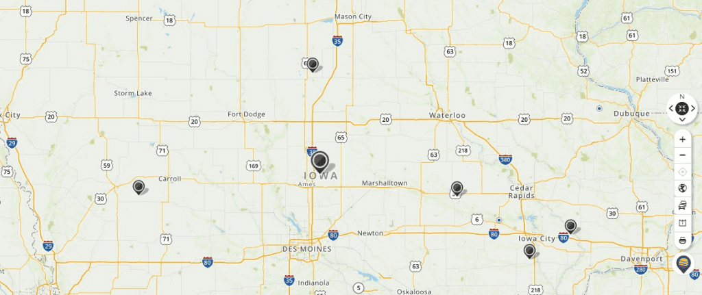 Mapquest Map of Iowa and Driving directions
