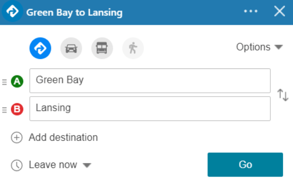 bing maps driving directions route planner