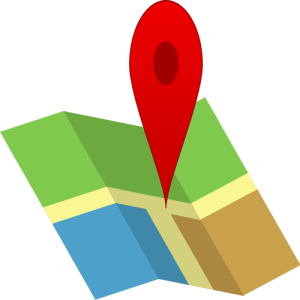 A giant red pin is set in the middle of an artistic and abstract map. The map is simple a green blue and brown square joined by a yellow T which represents the crossroad that the Red Pin is dropped on. The idea is that a map location is being specified, and my goal is that you think of yourself being found on the map, in the way you wish to be found.