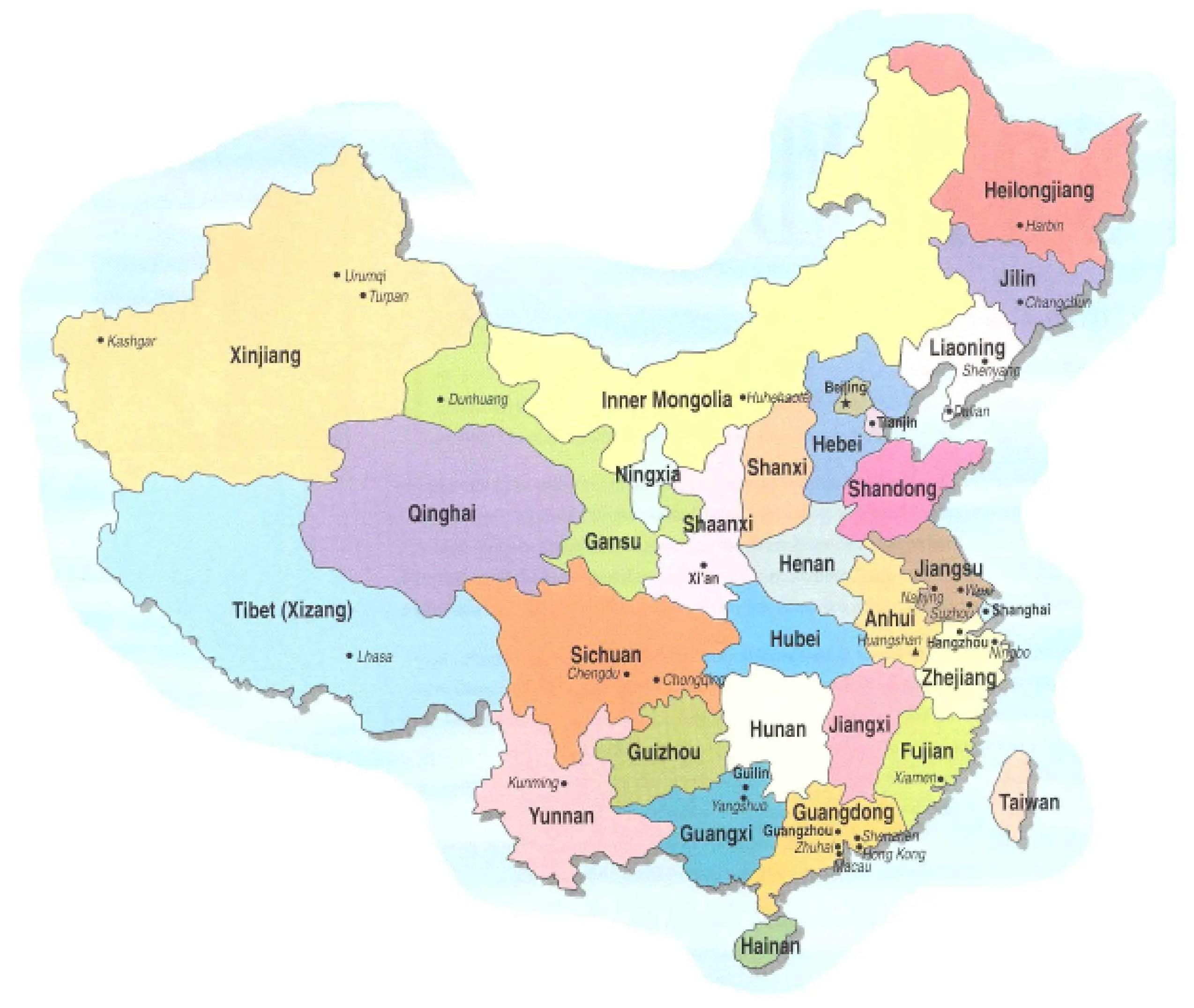 China Provinces 1 Mapsof