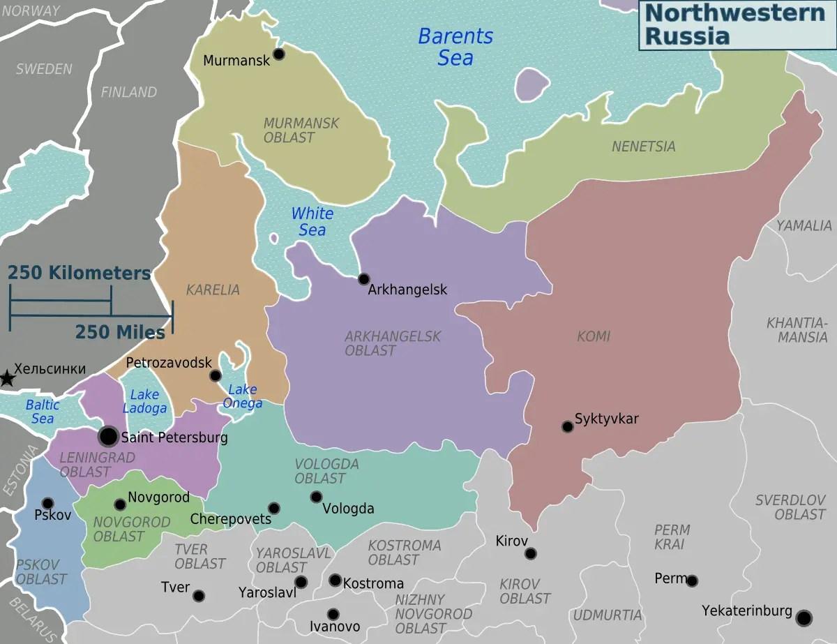 Northwestern Russia Regions Mapsof
