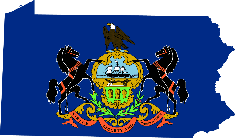 Pennsylvania Flag Map Mapsof