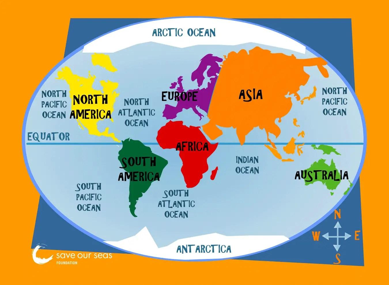 Major Oceans Map Mapsof Net