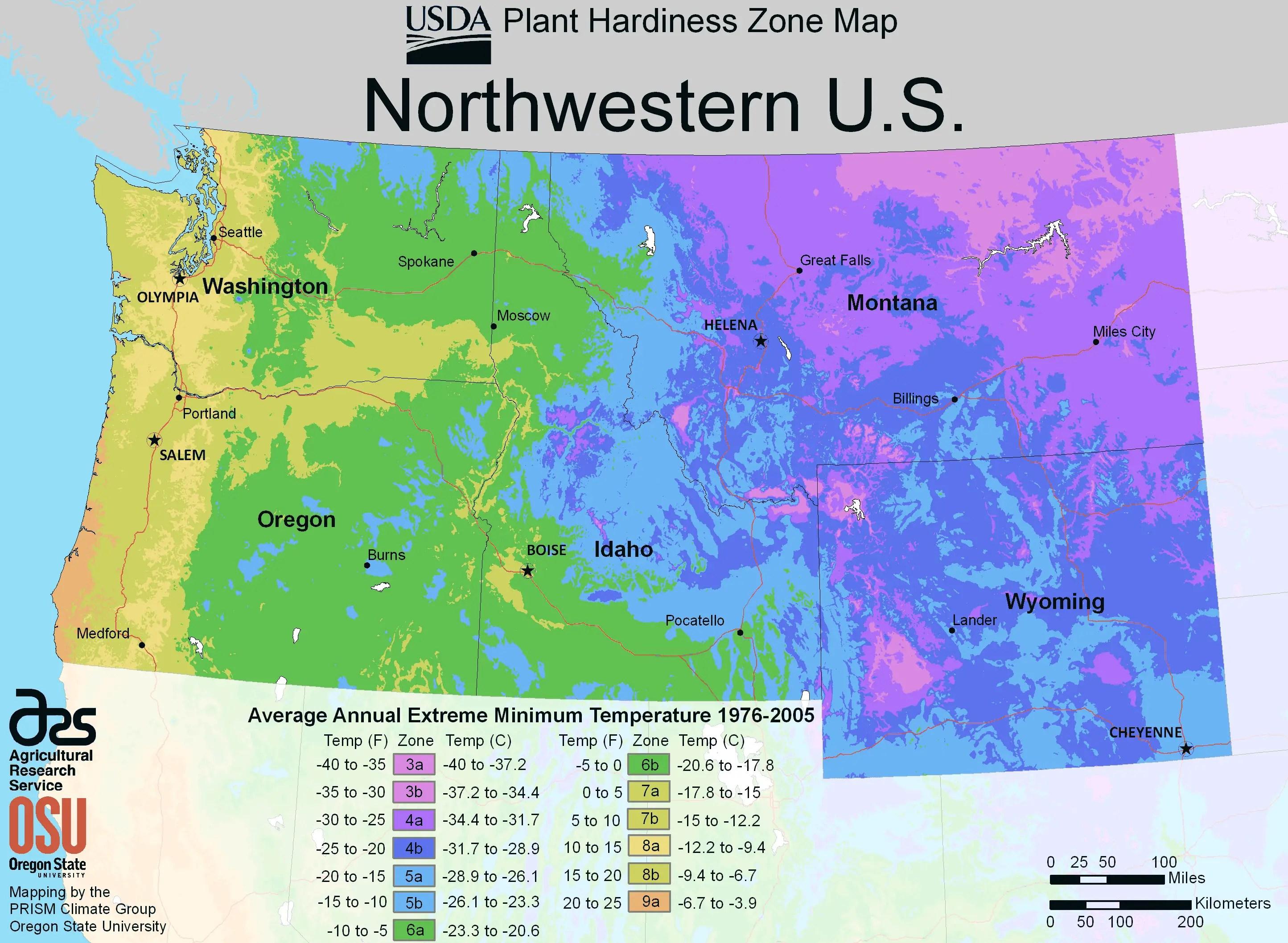 North West Us Plant Hardiness Zone Map Mapsof