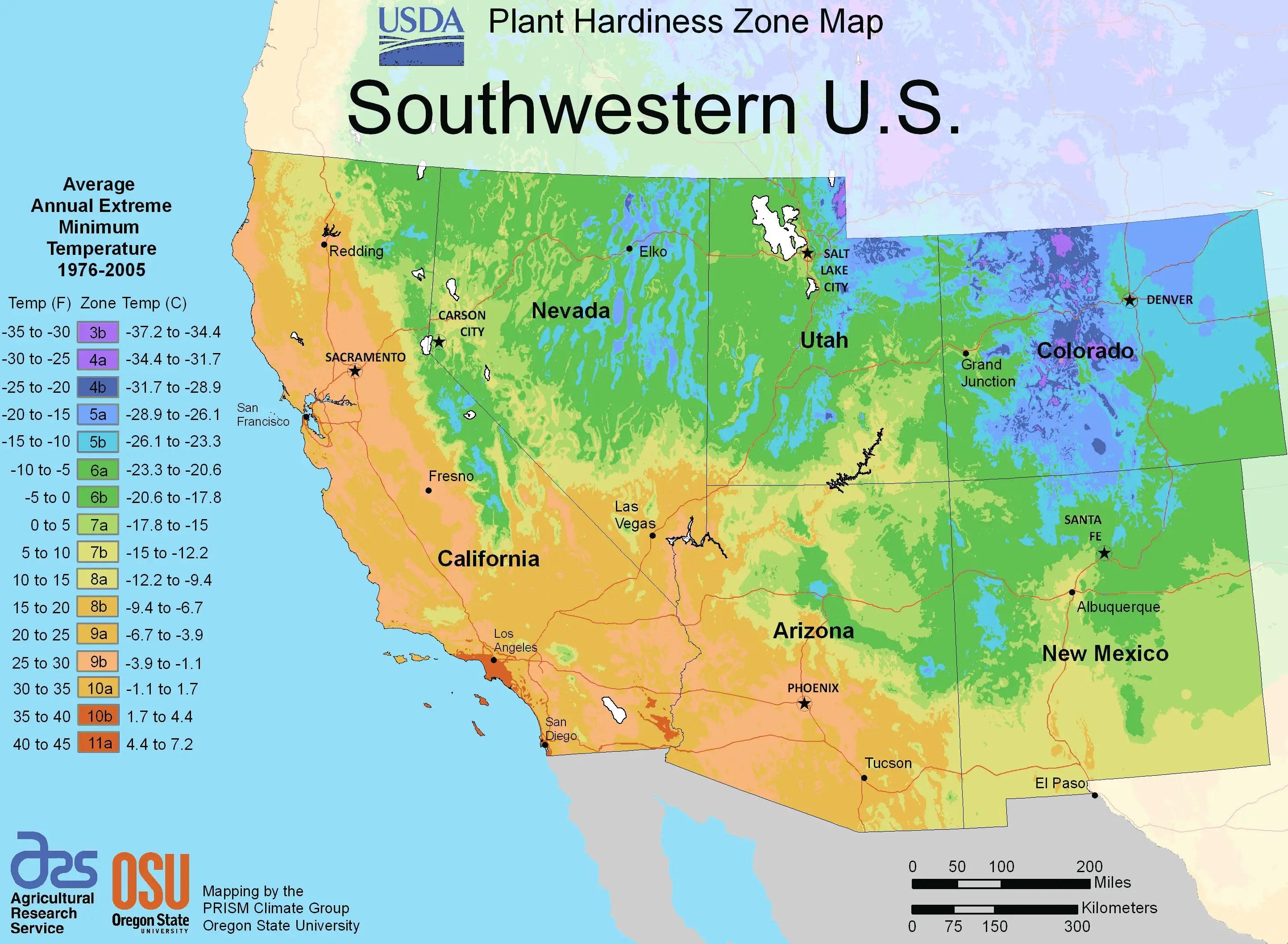 South West Us Plant Hardiness Zone Map Mapsof