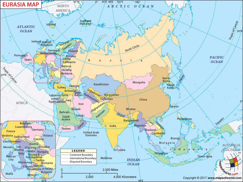 Eurasia Map, Map Of Eurasia With With European And Asian