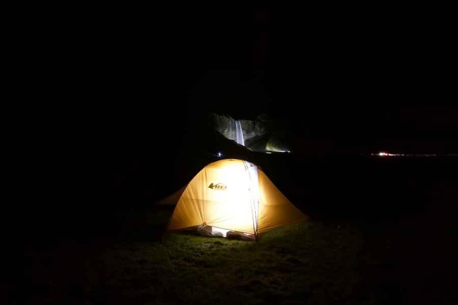 Seljalandfoss-Camping-Iceland-Night-Waterfall-Camping in Iceland