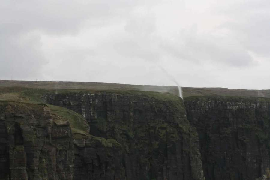 Ireland-hiking the cliffs-of-Moher-walking-trail-backwards-waterfall