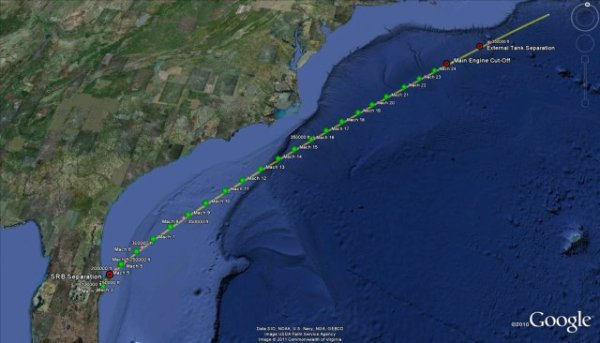 Track the Space Shuttle in Google Earthmaptd