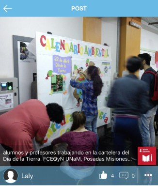 Laly (Argentina): Professors and Alumni working together on an Earth Day poster to raise awareness