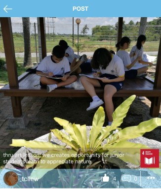 Tcliew (Malaysia): Teaching students to appreciate nature through art lessons.