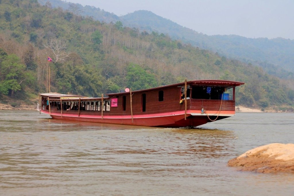 A slow boat on the Mekong River