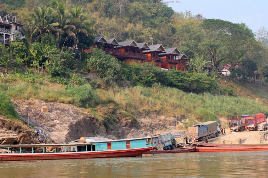 Mekong River Cruise on the Slow Boat - Mekong Riverside Lodge view from the river
