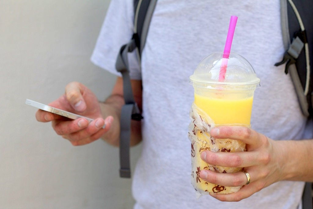 Mango smoothie on the street, Bangkok
