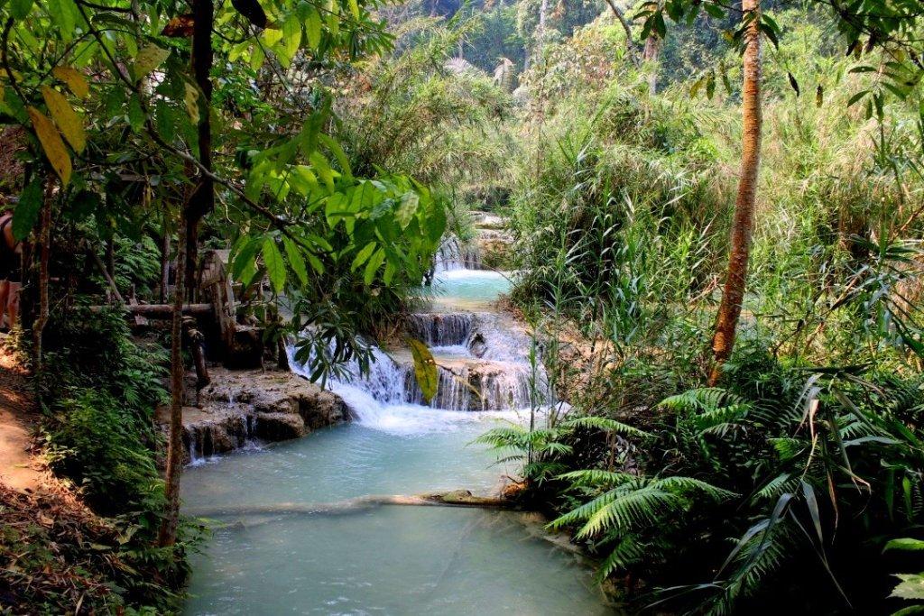 Cascades at Kuang Si waterfall
