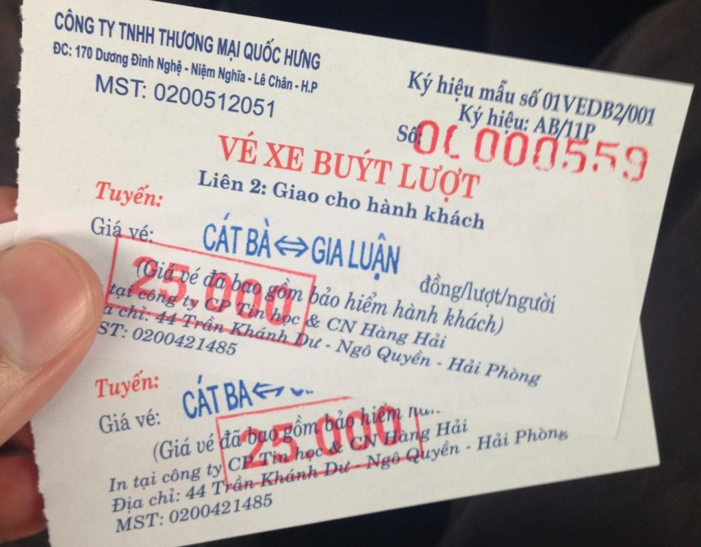 Cat Ba island bus tickets