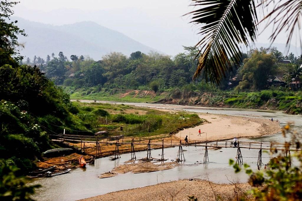 bamboo bridges, luang prabang, laos