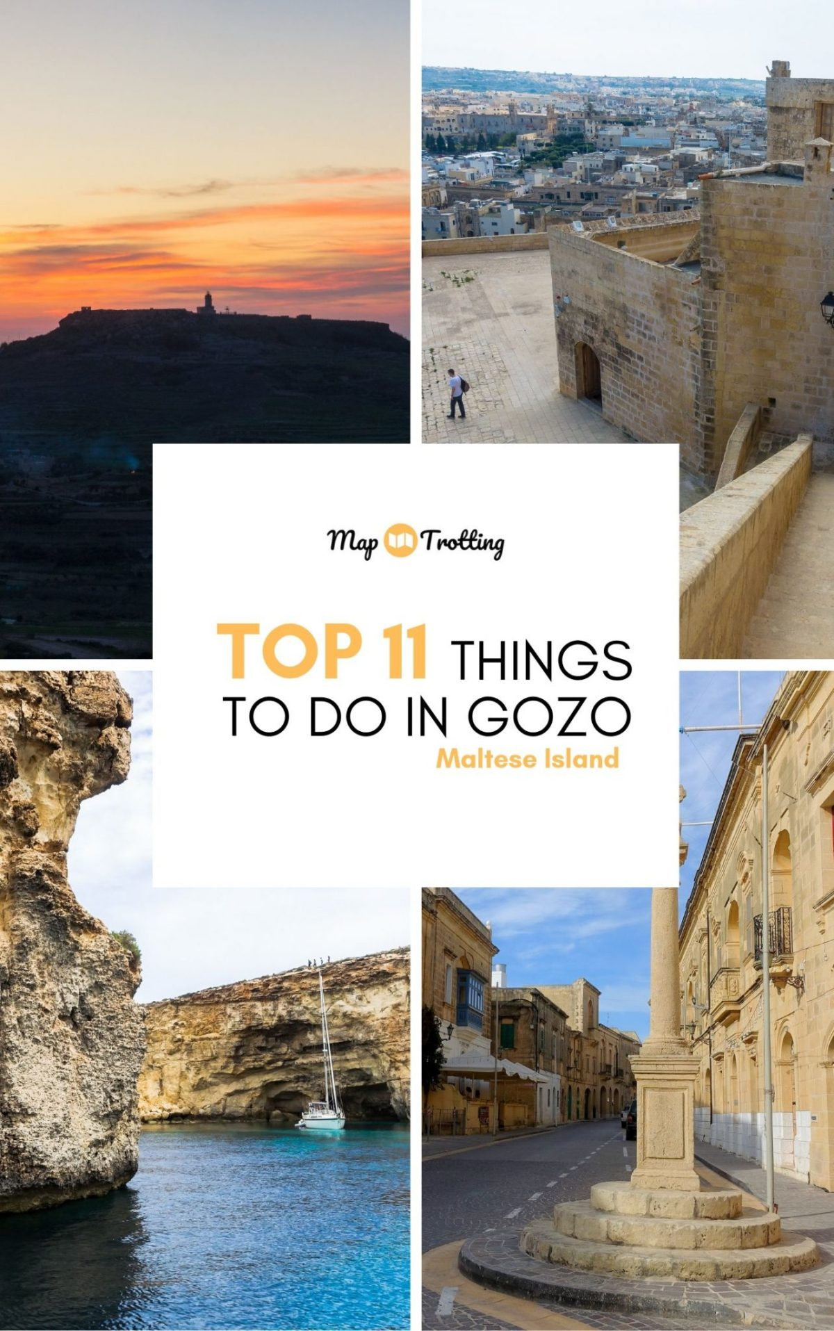 Things to do in Gozo pin features a Gozitan village square, tall walls of the Cittadella fortress, a white yacht among the tall rocks and sunset over Nadur village.