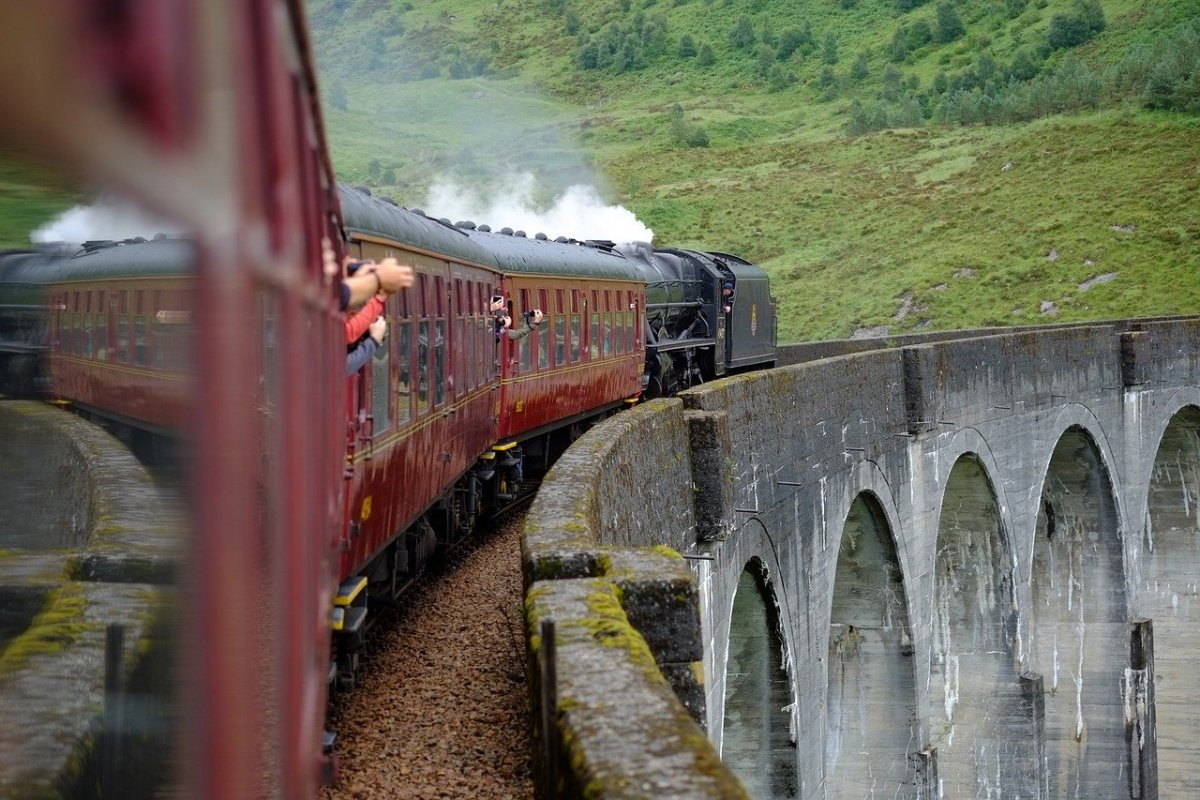 Crossing the Harry Potter bridge on the Hogwarts Express