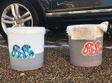 2 Bucker Wash - Note the colour of the rinse bucket as dirt is washed out of the wash mit