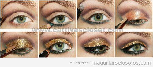 cmo maquillarse los ojos con pururina dorada y perfilador negro paso a paso