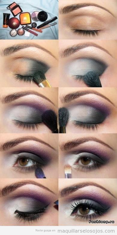 maquillaje de ojos en blanco negro y morado ahumado paso a paso
