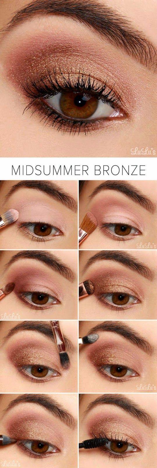 maquillaje elegante para una boda en verano en tonos bronce y rosa tutorial