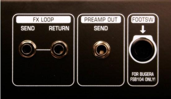 Vista das conexões do Loop de Efeitos de um aplificador Bugera
