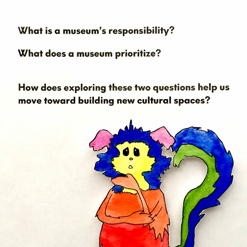 Marabou stands in front of three questions