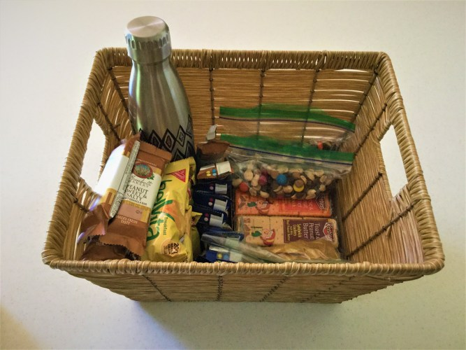 Bedside snack basket for nursing and breastfeeding mothers