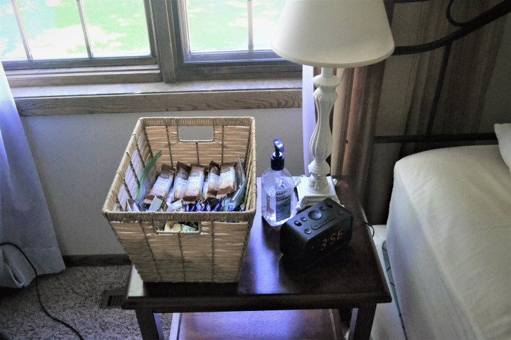 Bedside snack basket for new breastfeeding mothers