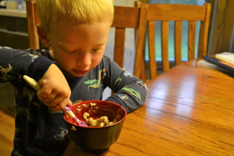 Small boy eating a bowl of oatmeal