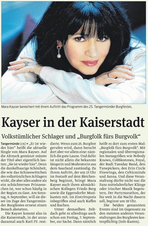 Vorankündigung - Mara Kayser in Tangermünde am 09.09.2012