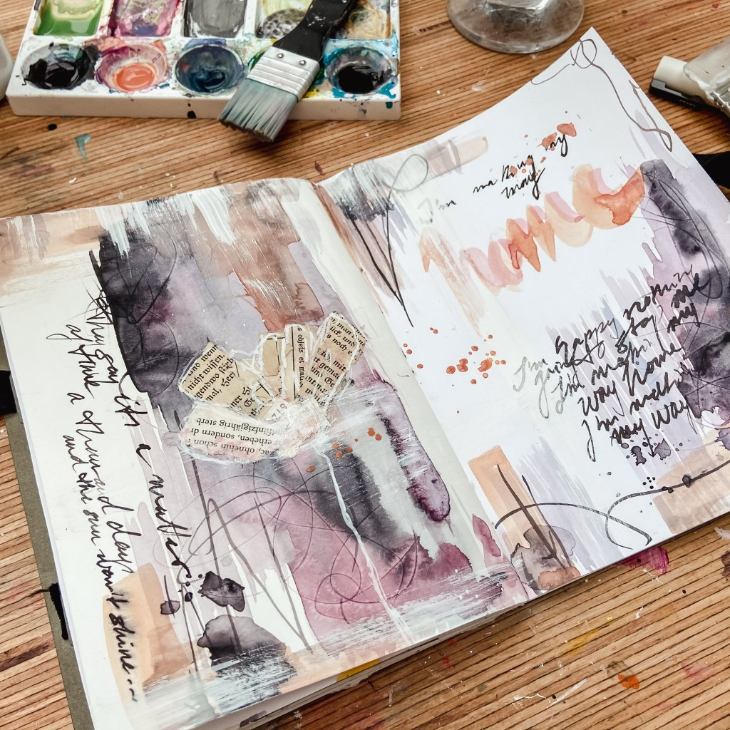 art journal mixed media seitengestaltung ideen