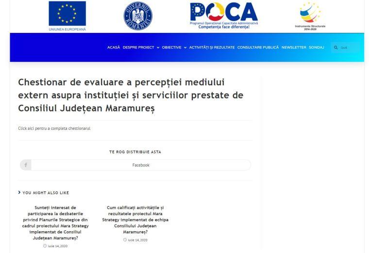 Cetățenii pot completa un chestionar de evaluare a percepției asupra instituției și serviciilor prestate de Consiliul Județean Maramureș